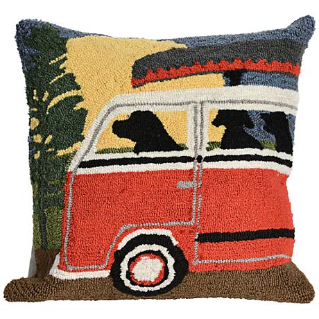 """Frontporch Camping Trip Red 18"""" Square Outdoor Throw Pillow"""