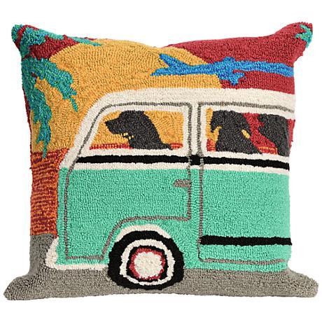 "Frontporch Beach Trip Sunset 18"" Square Outdoor Throw Pillow"