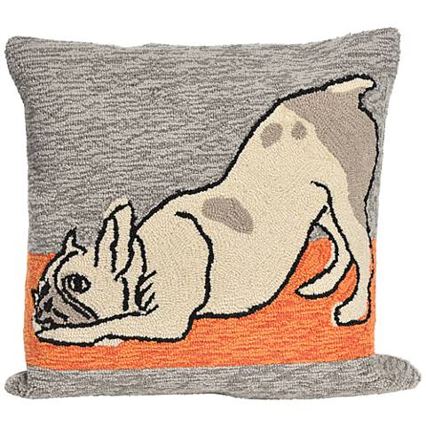 """Frontporch Yoga Dogs Heather 18"""" Square Outdoor Throw Pillow"""