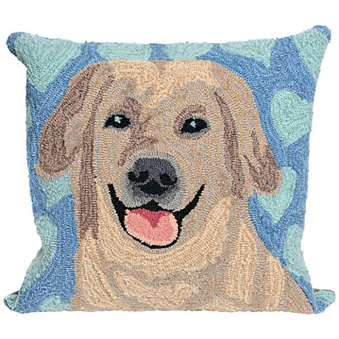 "Frontporch Puppy Love Blue 18"" Square Indoor-Outdoor Pillow"