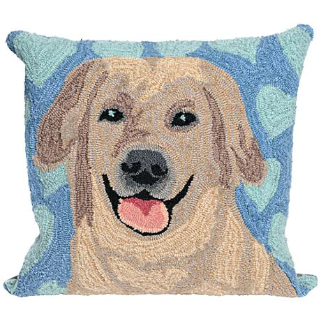 """Frontporch Puppy Love Blue 18"""" Square Outdoor Throw Pillow"""