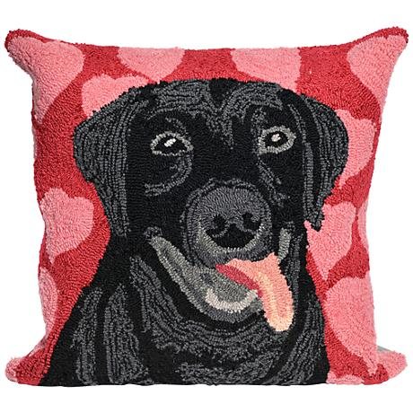 """Frontporch Puppy Love Valentine 18"""" Square Outdoor Pillow"""