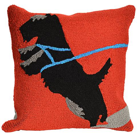 "Frontporch Who's Walking Who Red 18"" Indoor-Outdoor Pillow"