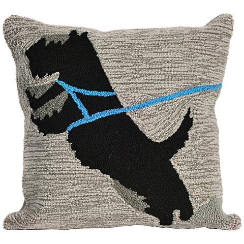 "Frontporch Who's Walking Who Gray 18"" Indoor-Outdoor Pillow"