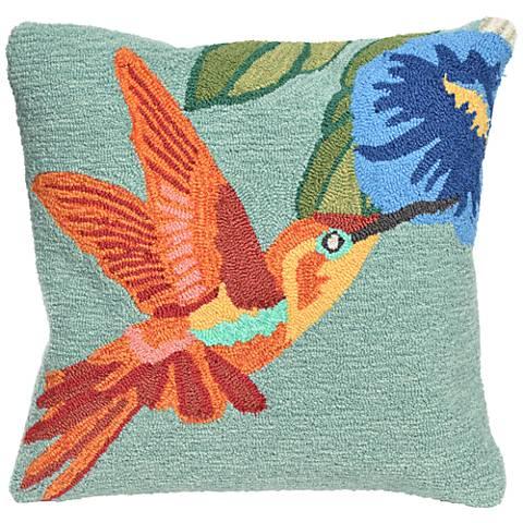 "Frontporch Hummingbird Sky 18"" Square Indoor-Outdoor Pillow"