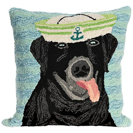 "Frontporch Salty Dog Black 18"" Square Outdoor Throw Pillow"