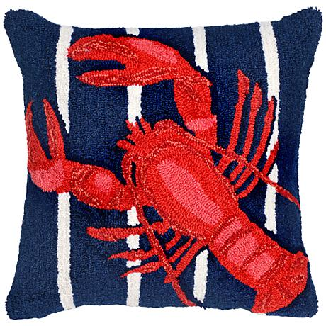 """Frontporch Lobster on Stripes Navy 18"""" Square Outdoor Pillow"""