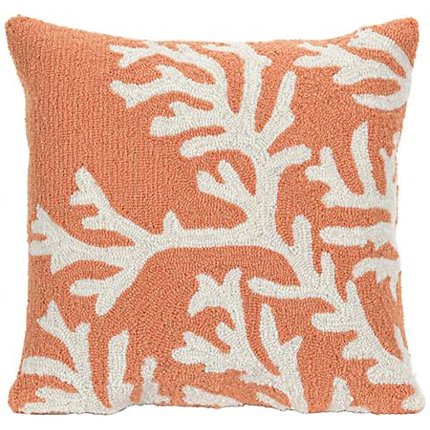 "Frontporch Coral 18"" Square Outdoor Throw Pillow"