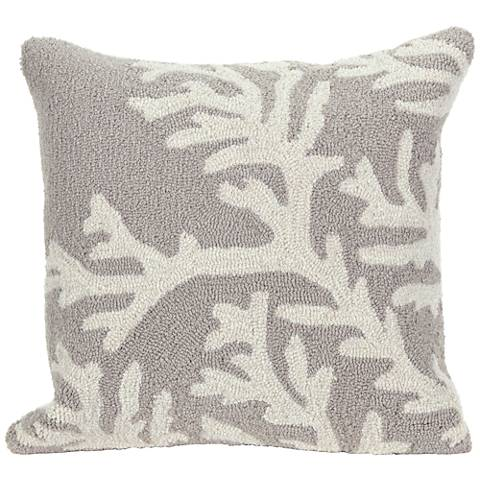 "Frontporch Coral Silver 18"" Square Indoor-Outdoor Pillow"