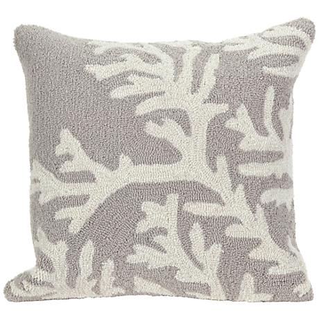 """Frontporch Coral Silver 18"""" Square Outdoor Throw Pillow"""