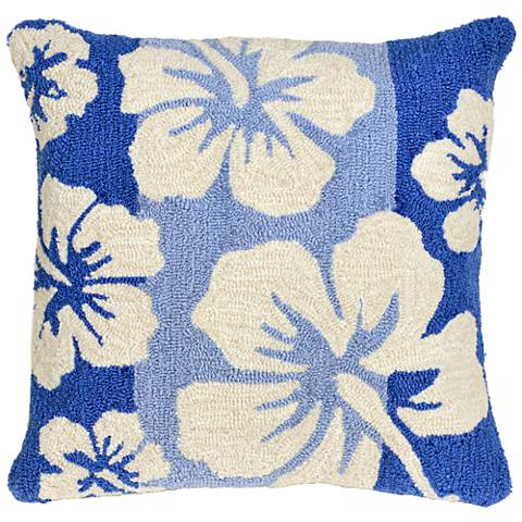 "Frontporch Hibiscus Cool 18"" Square Indoor-Outdoor Pillow"