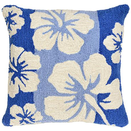 """Frontporch Hibiscus Cool 18"""" Square Outdoor Throw Pillow"""