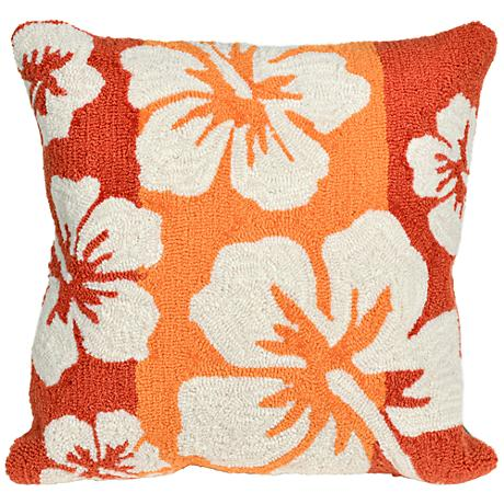 """Frontporch Hibiscus Warm 18"""" Square Outdoor Throw Pillow"""