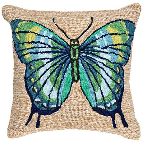 """Frontporch Butterfly Cool 18"""" Square Outdoor Throw Pillow"""