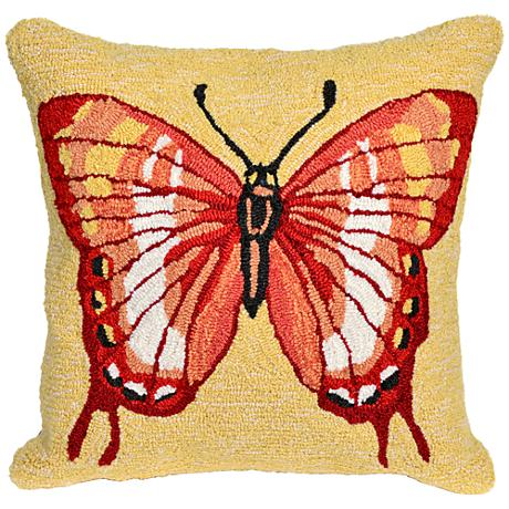 """Frontporch Butterfly Warm 18"""" Square Outdoor Throw Pillow"""