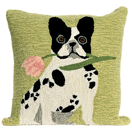 """Frontporch Flowery Frenchy Green 18"""" Square Outdoor Pillow"""