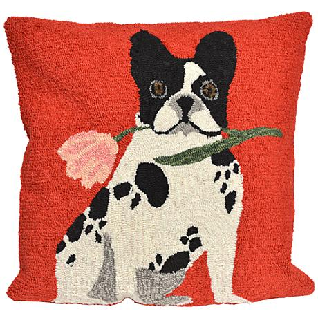 """Frontporch Flowery Frenchy Red 18"""" Square Outdoor Pillow"""