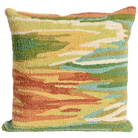 """Frontporch Watercolor Green 18"""" Square Outdoor Throw Pillow"""