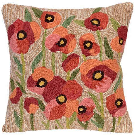 """Frontporch Poppies Neutral 18"""" Square Outdoor Throw Pillow"""