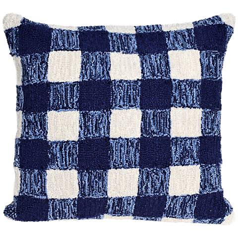 "Frontporch Gingham Blue 18"" Square Indoor-Outdoor Pillow"
