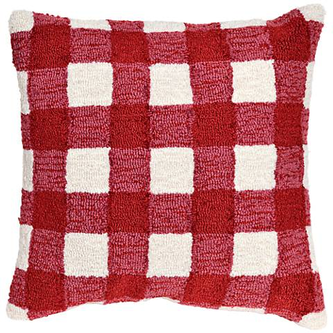 """Frontporch Gingham Red 18"""" Square Indoor-Outdoor Pillow"""