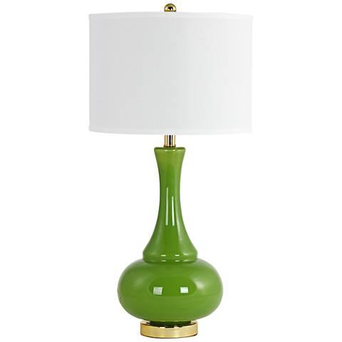 Adaliz Avocado Green Glass Vase Table Lamp
