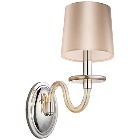 "Maxim Venezia 14""H Nickel Cognac Shade 1-Light Sconce"