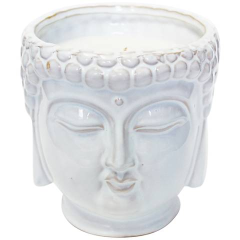 Buddha Metallic White Lotus and Lily Large Scented Candle