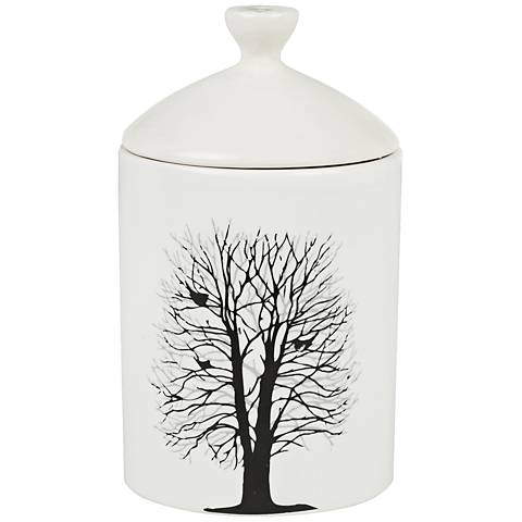 Birds in Tree Chestnut and Acorn White Lidded Jar Candle
