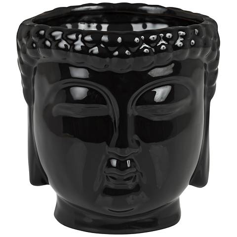 Buddha Head Glossy Black Aftershave Large Scented Candle
