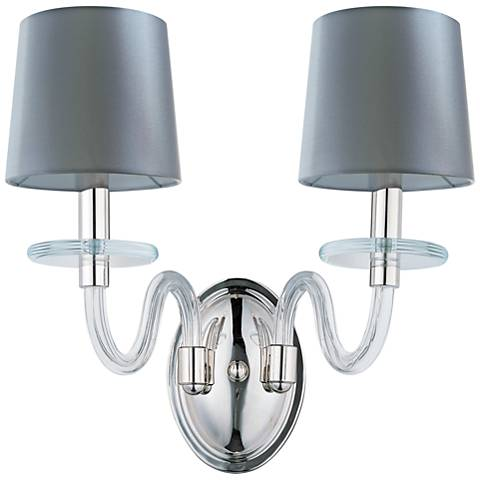 "Maxim Venezia 14""H Nickel Clear Shade 2-Light Sconce"