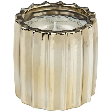 Ribbed Metallic Champagne Fennel and Fig Scented Candle