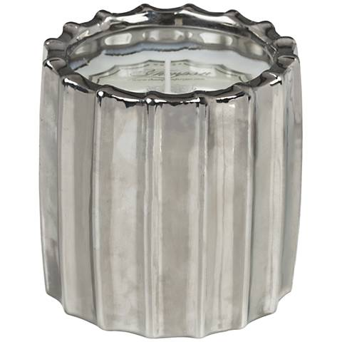 Ribbed Metallic Silver Lotus and Lily Scented Candle