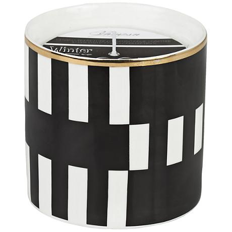 Venetian Black Stripes Winter Woods Small Scented Candle