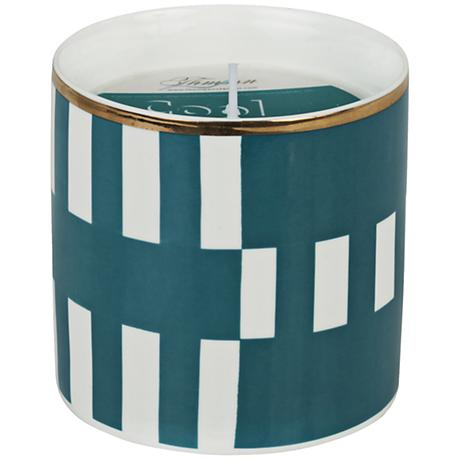 Venetian Trans Teal Stripe Cool Moss Small Scented Candle