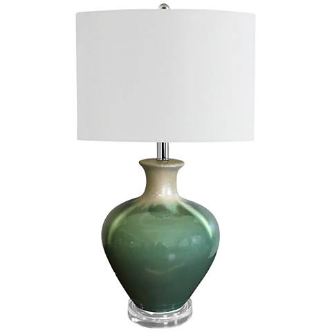 Lena Teal Combo Glaze Ceramic Table Lamp