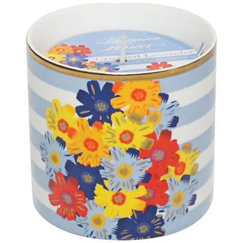 Venetian Blue Stripes Floral Hand-Poured Scented Candle