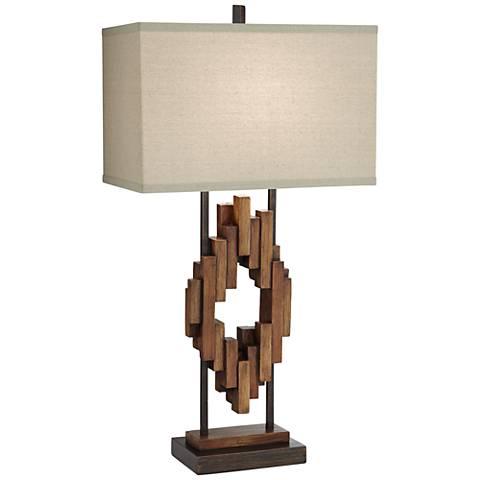 Bonanza Faux Distressed Wood Table Lamp