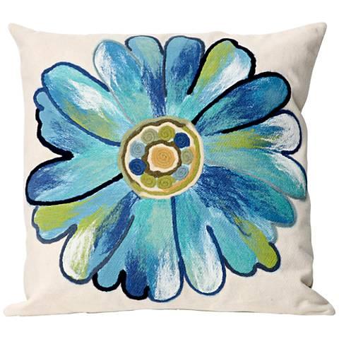 "Visions III Daisy Aqua 20"" Square Outdoor Throw Pillow"