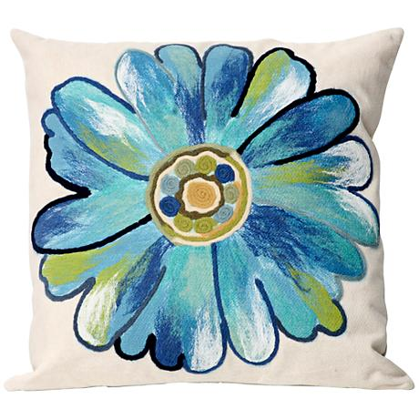 "Visions III Daisy Aqua 20"" Square Outdoor Throw Pillow"