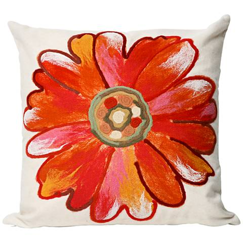 """Visions III Daisy Orange 20"""" Square Outdoor Throw Pillow"""