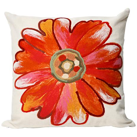 "Visions III Daisy Orange 20"" Square Outdoor Throw Pillow"