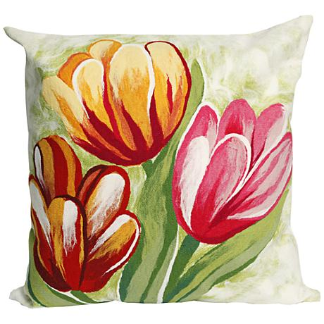 """Visions III Tulips Warm 20"""" Square Outdoor Throw Pillow"""