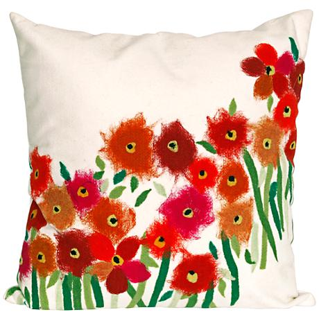 """Visions III Poppies Red 20"""" Square Outdoor Throw Pillow"""