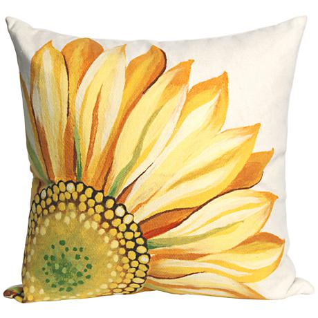 """Visions III Sunflower Yellow 20"""" Square Outdoor Throw Pillow"""