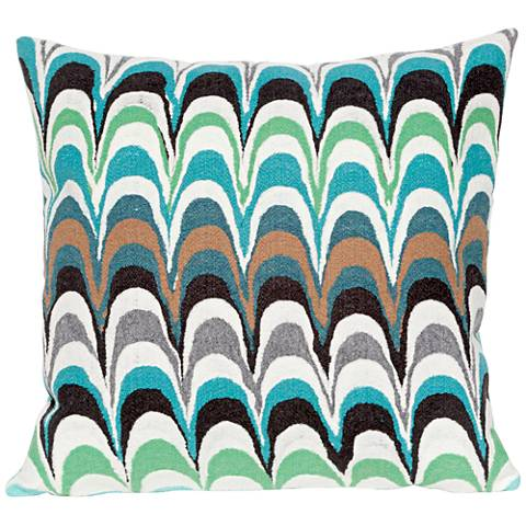 """Visions III Floating Ink Aqua 20"""" Square Outdoor Pillow"""