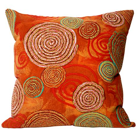 "Visions III Graffiti Swirl Warm 20"" Square Outdoor Pillow"