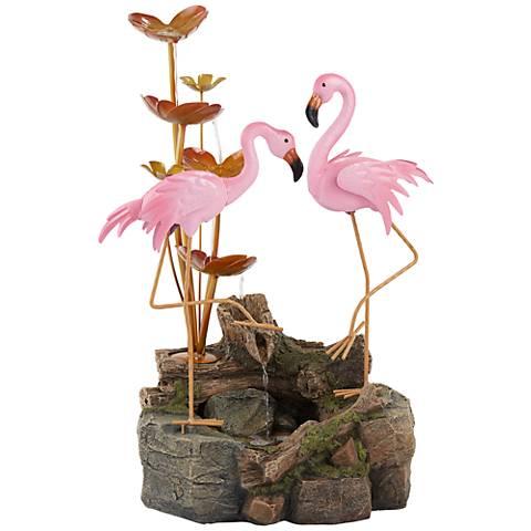 "Oceanside 28 1/4"" High Flamingos on Rock Outdoor Fountain"