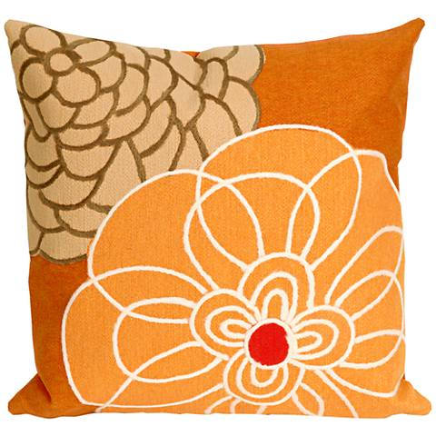 "Visions III Disco Orange 20"" Square Outdoor Throw Pillow"