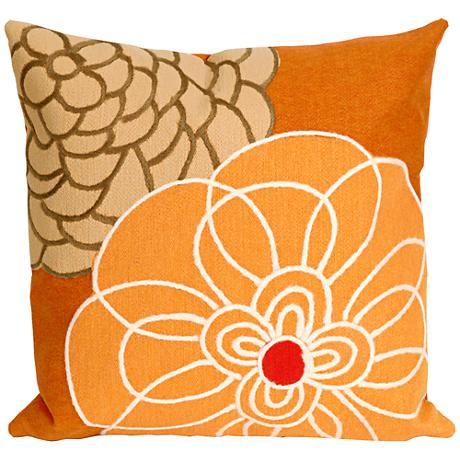 "Visions III Disco Orange 20"" Square Outdoor Throw Pillow"
